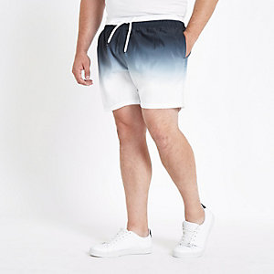 Big and Tall black dip dye swim trunks