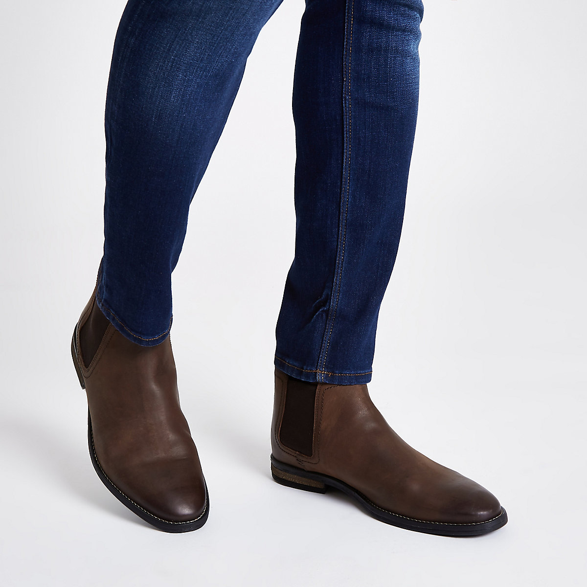 Brown leather chelsea boot