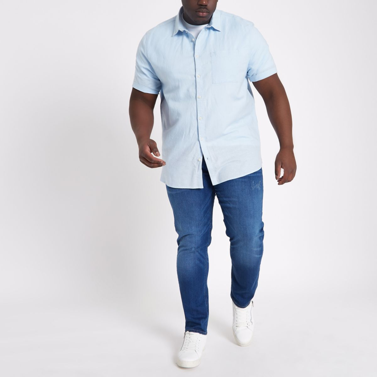 Big & Tall – Hellblaues Leinenhemd
