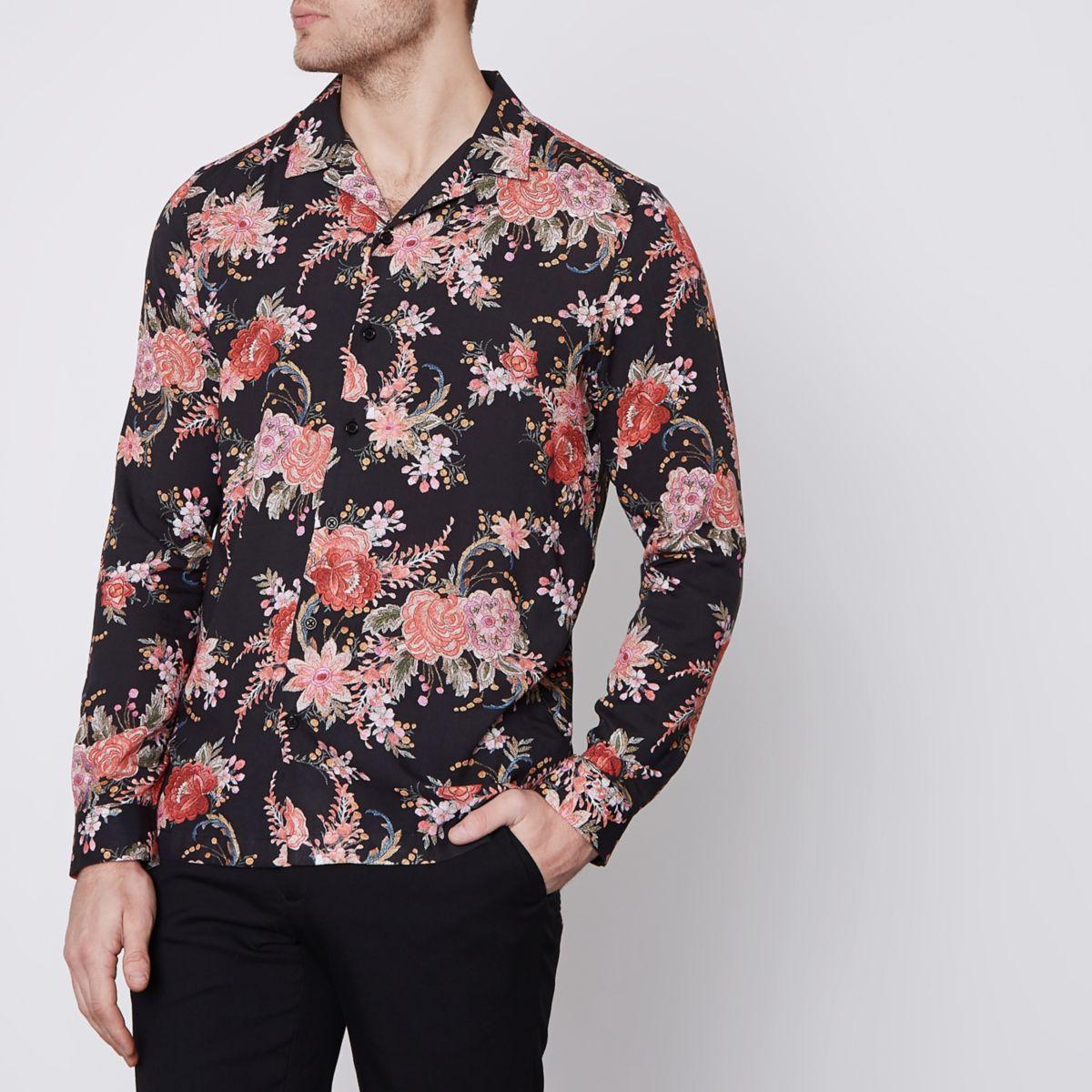 Zwart lang overhemd met bloemenprint en reverskraagje