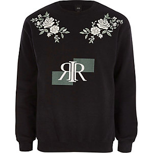 Black RI print floral embroidered sweatshirt