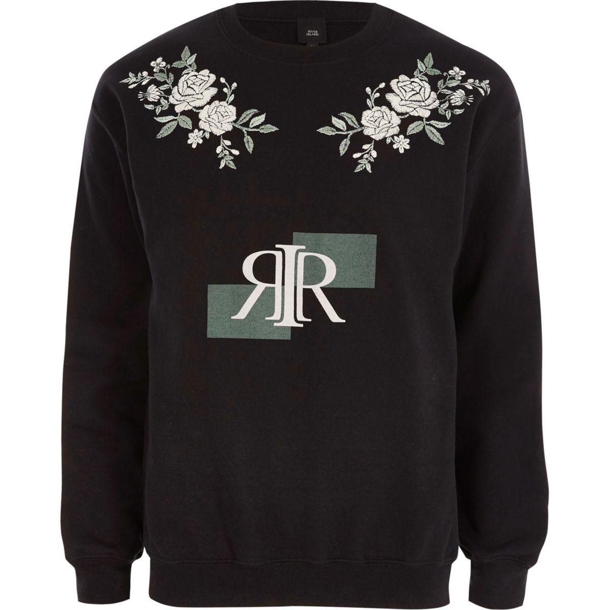 Black RI print floral embroidered sweatshirt
