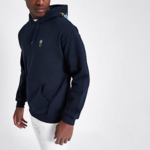 Navy floral embroidered hoodie
