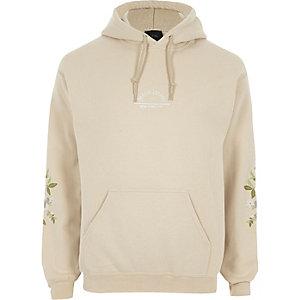 Stone embroidered sleeve hoodie