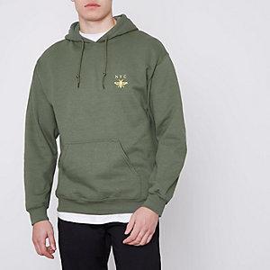 Groene hoodie met NYC- en wespenprint op de borst