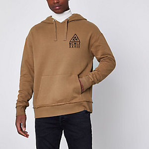 Tan triangle chest print hoodie