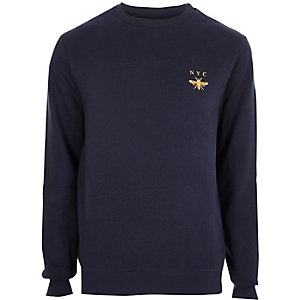 Navy 'NYC' wasp chest embroidered sweatshirt