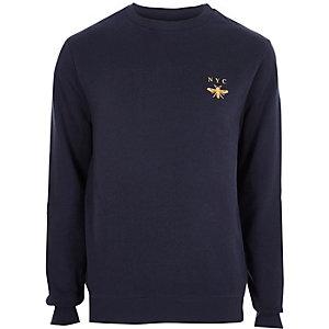 Marineblauw geborduurd sweatshirt met 'NYC'- en wespenprint op de borst