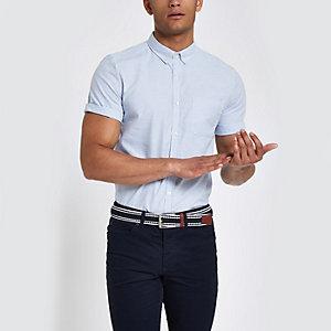 Blauw gestreept slim-fit overhemd met korte mouwen