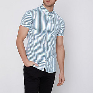 Green stripe slim fit short sleeve shirt
