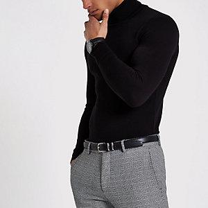 Zwarte slim-fit pullover met col