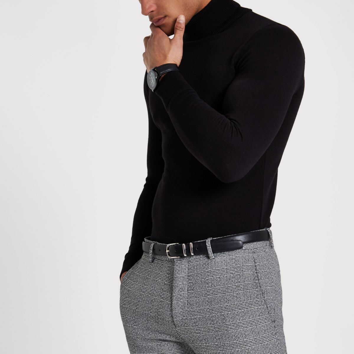 Black slim fit roll neck sweater