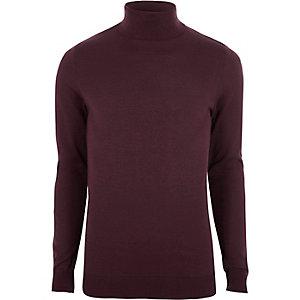 Dark red slim fit roll neck jumper
