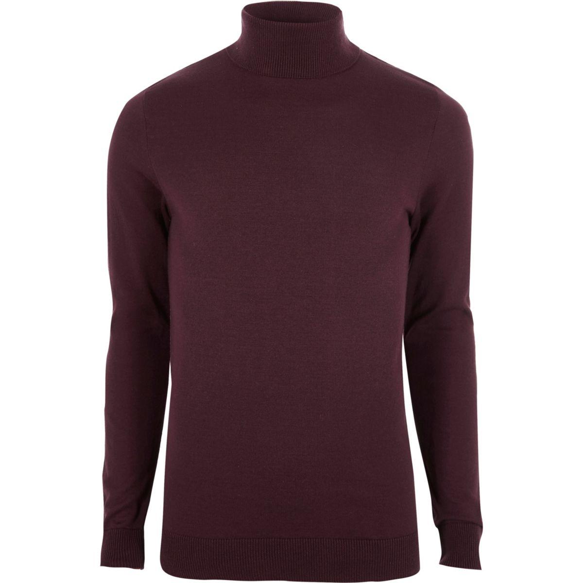 Dark red slim fit roll neck sweater
