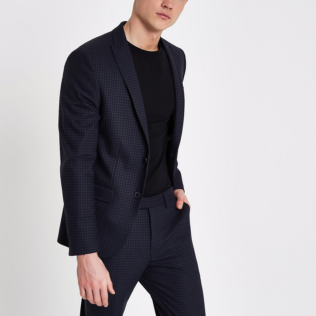 Blue check skinny fit suit jacket