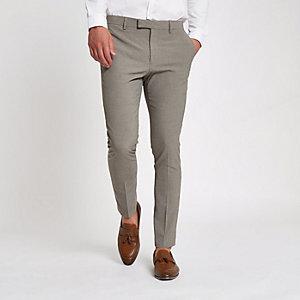 Pantalon de costume ultra skinny motif pied-de-poule écru