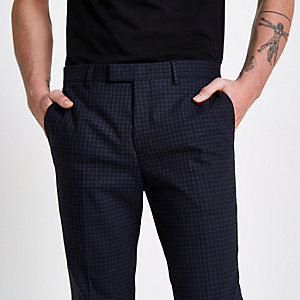 Pantalon de costume skinny à carreaux