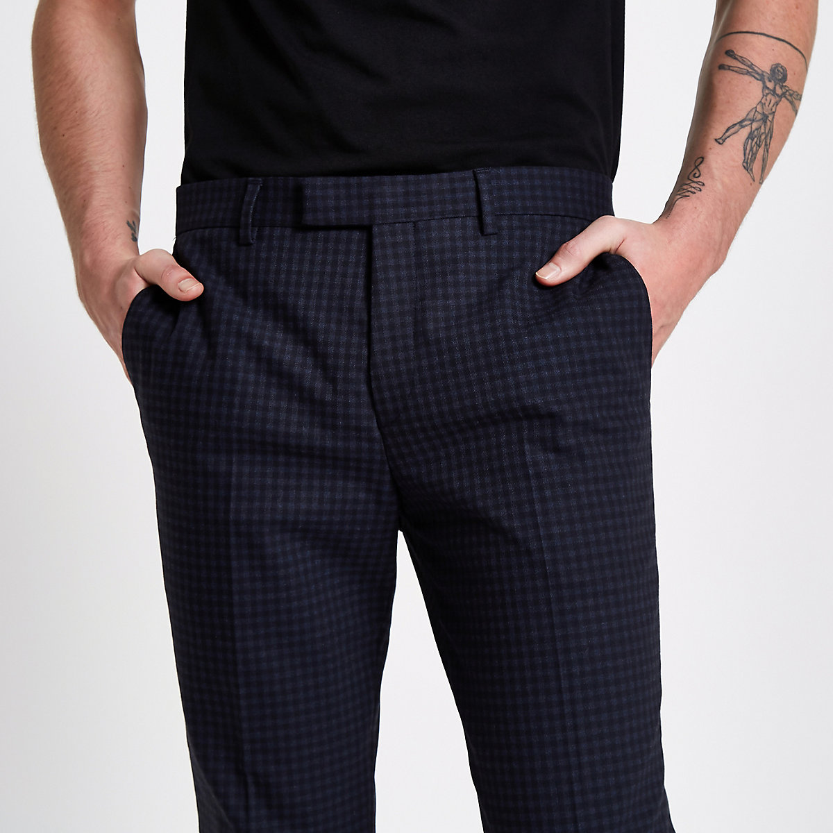Blue check skinny fit suit trousers