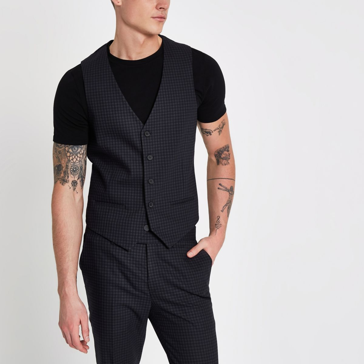 Blue check skinny fit waistcoat