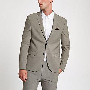 Ecru pupstooth ultra skinny fit suit jacket