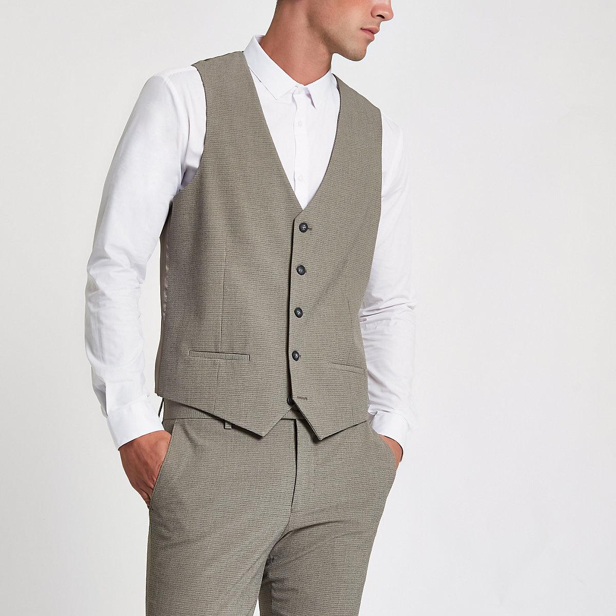 Ecru pupstooth suit vest