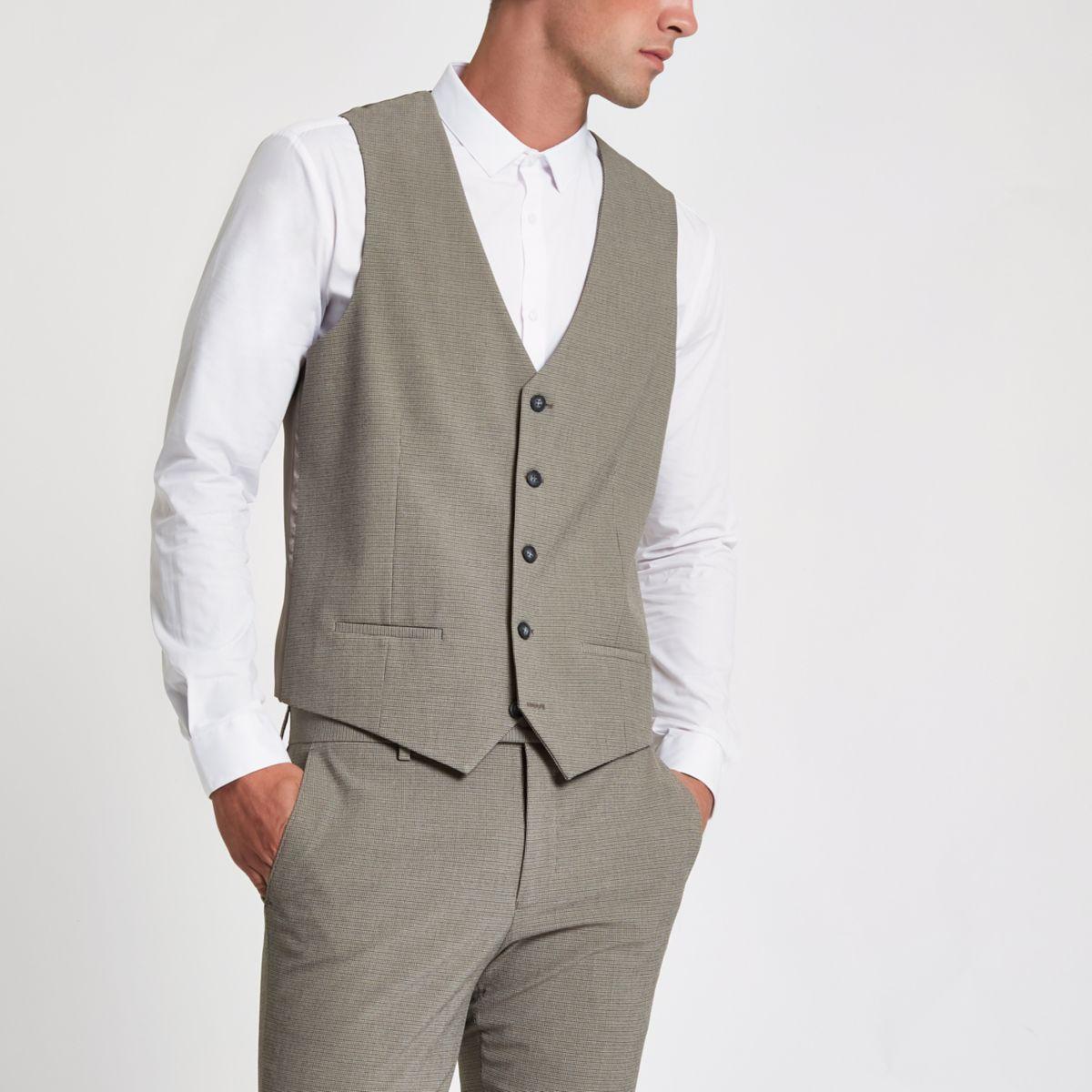 Ecru pupstooth suit waistcoat
