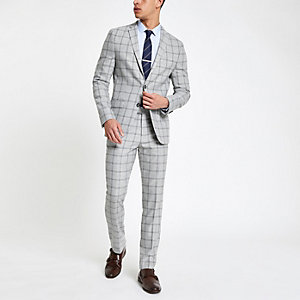 Grey check stretch skinny fit suit jacket