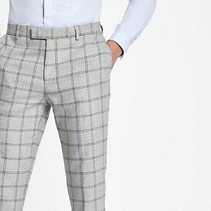 Grijze geruite skinny-fit pantalon met stretch