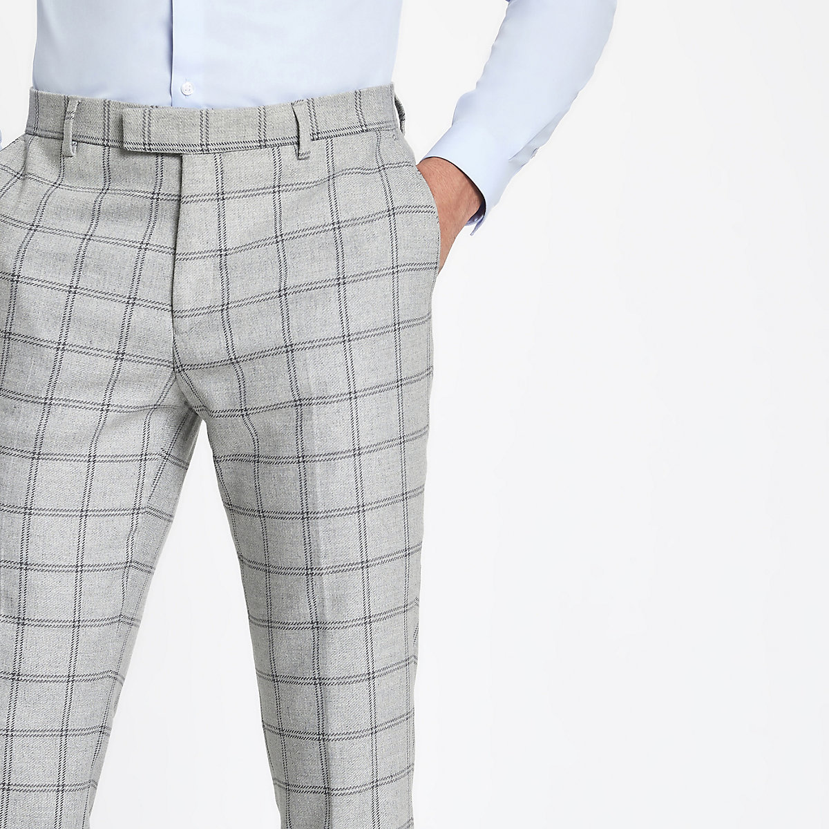 Grey check stretch skinny fit suit pants