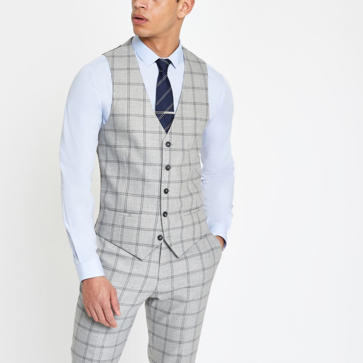 Mens Light Grey check smart waistcoat River Island Clearance Huge Surprise 220RRq