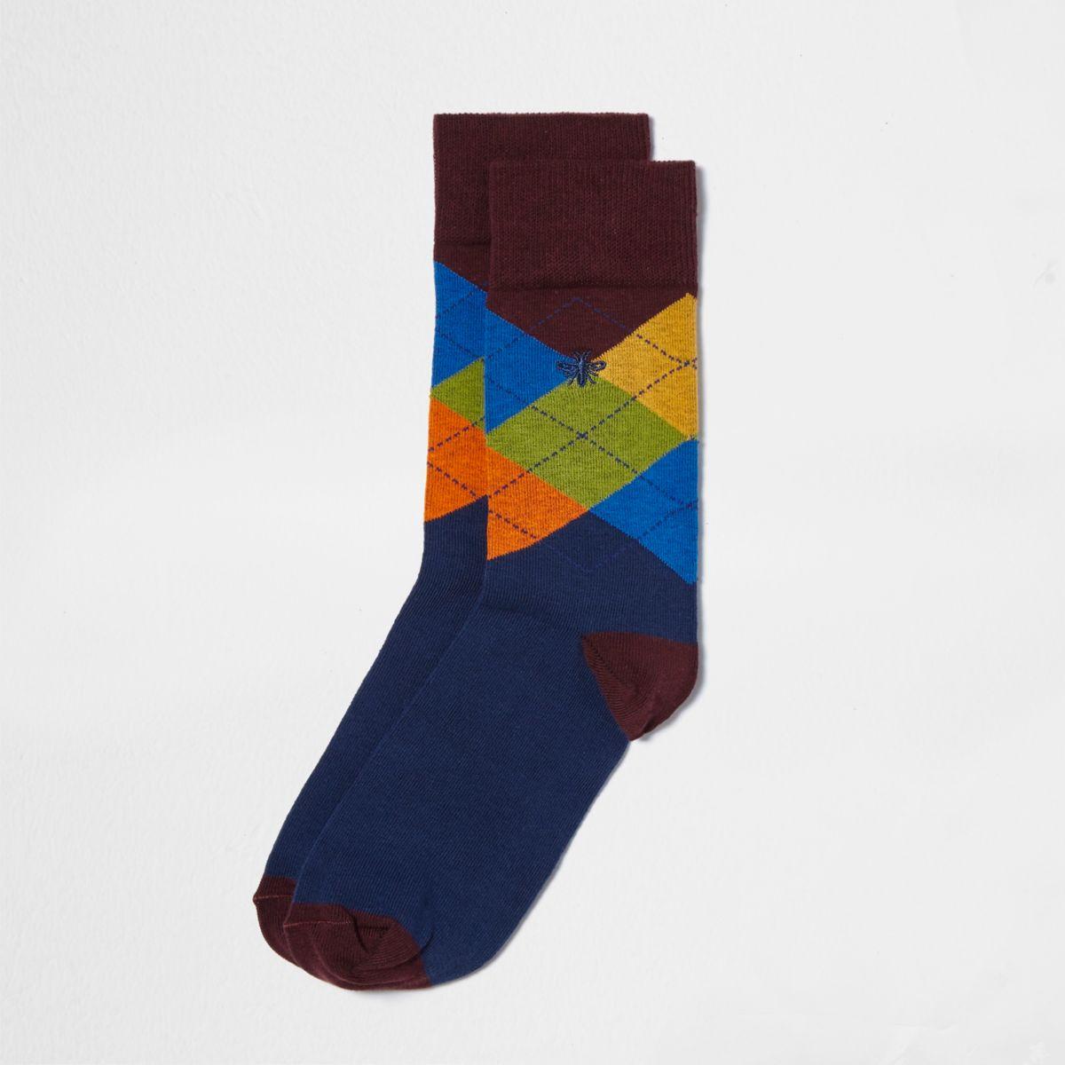 Verzierte Socken in Bordeaux mit Argyle-Muster, Set