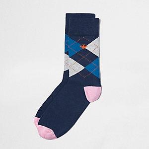 Marineblaue, verzierte Socken mit Argyle-Muster