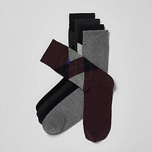 Multipack marineblauwe argyle sokken met geborduurde wesp