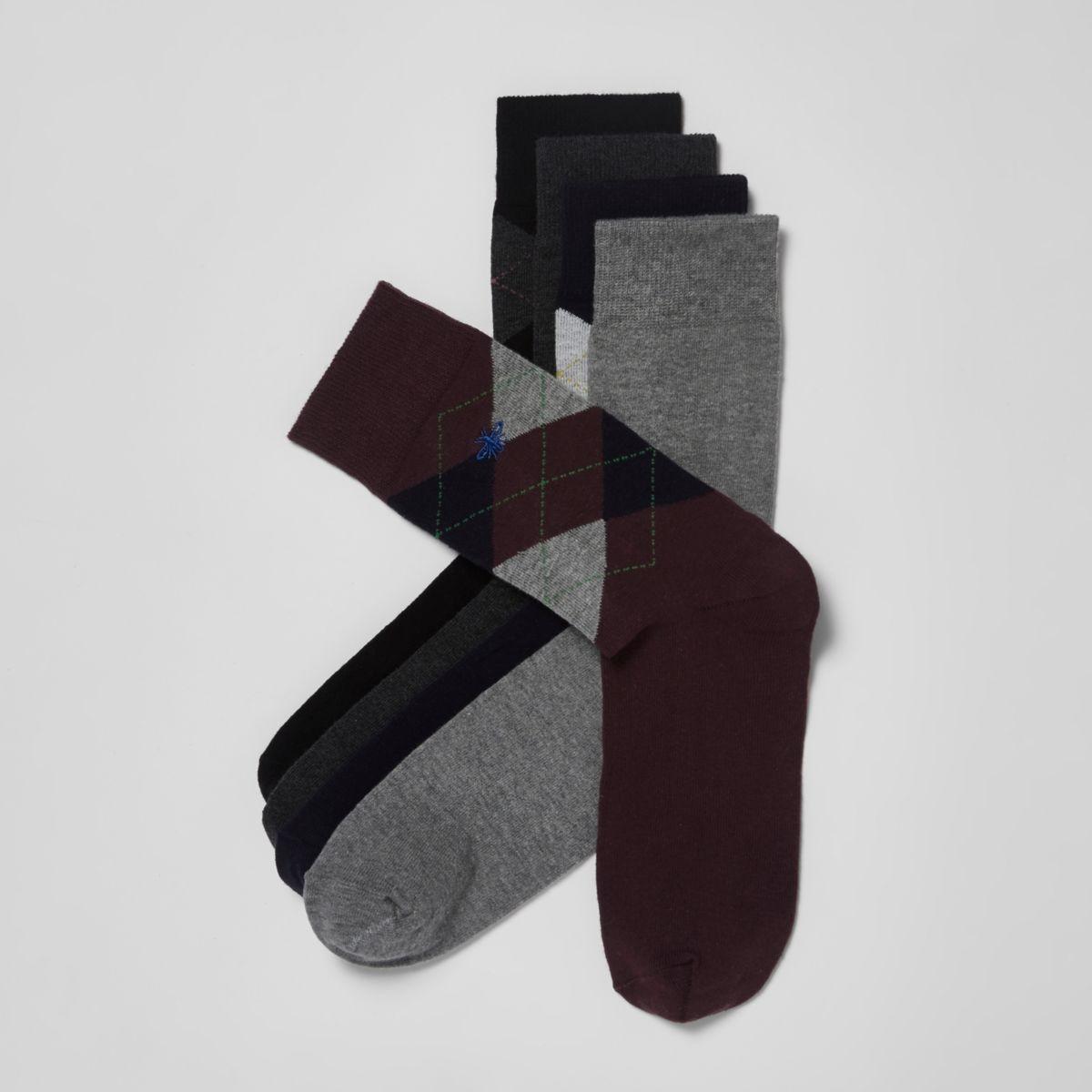 Navy argyle wasp embroidered socks multipack