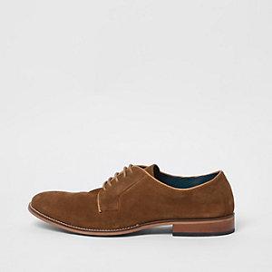 Chaussures derby en daim marron