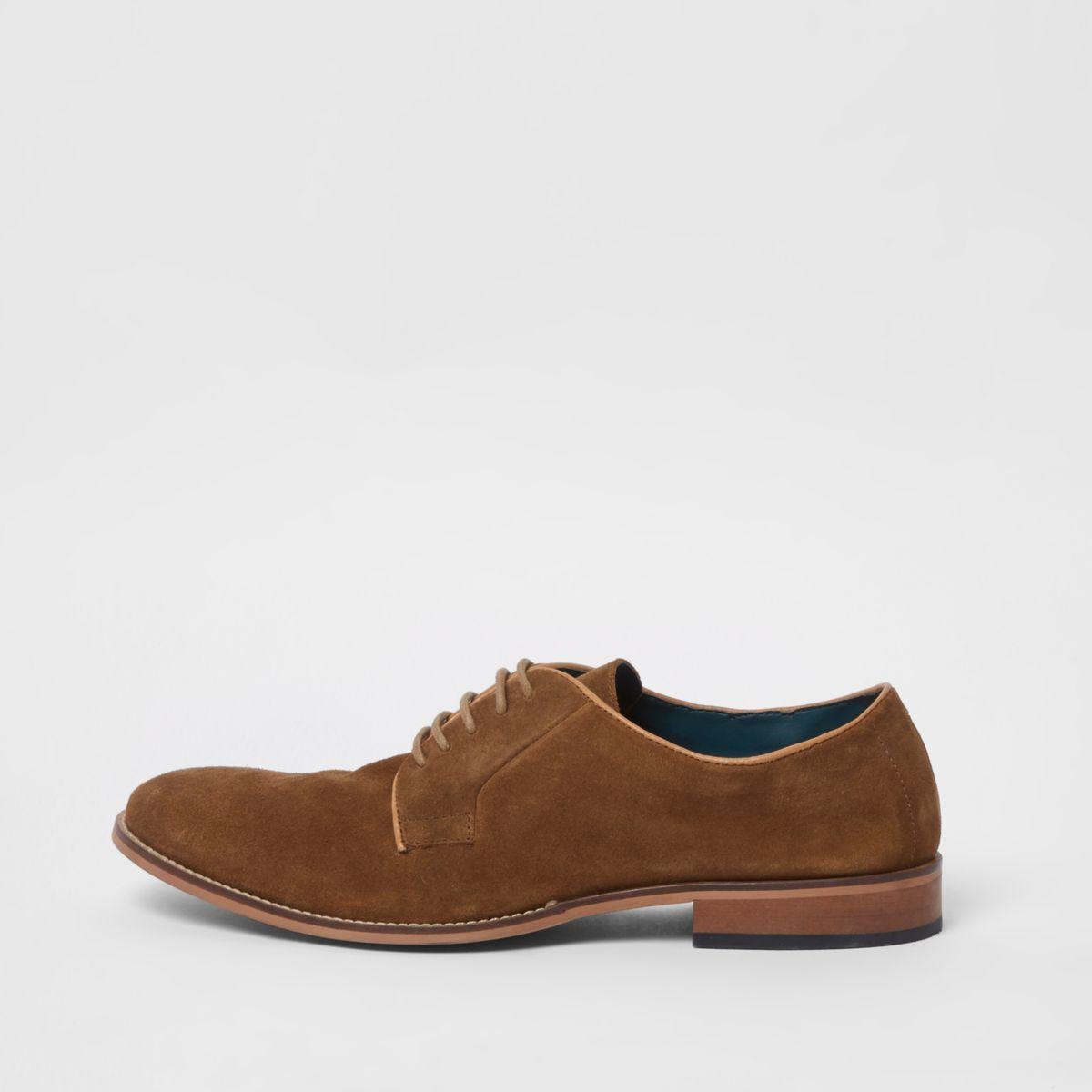 Brown suede derby shoes