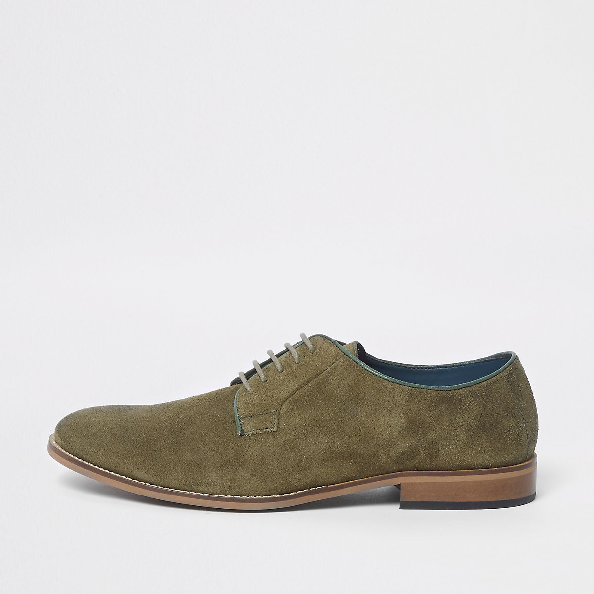 Green suede piping lace-up derby shoes