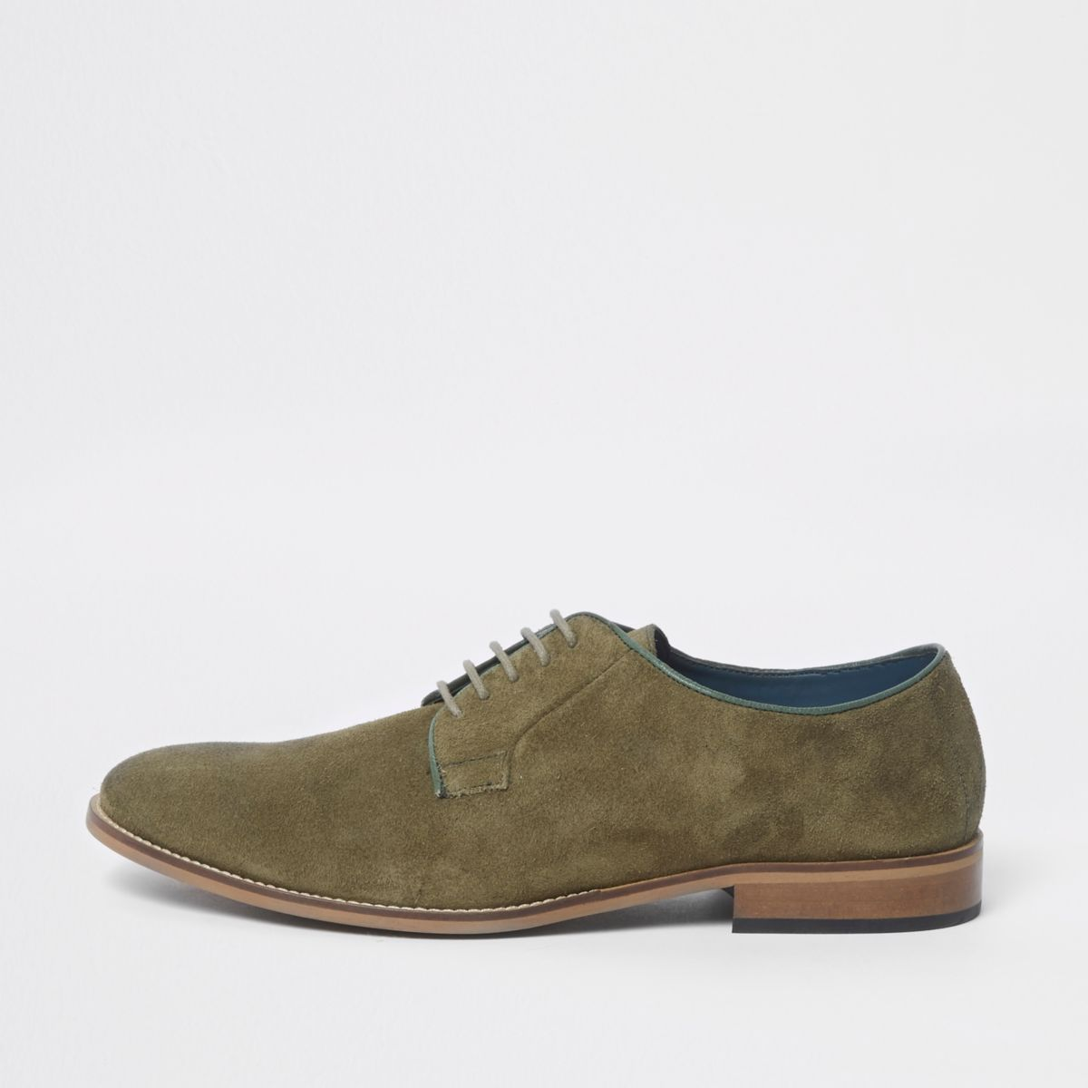 River Island Mens suede piping lace-up derby shoes