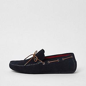 Navy suede driver shoe