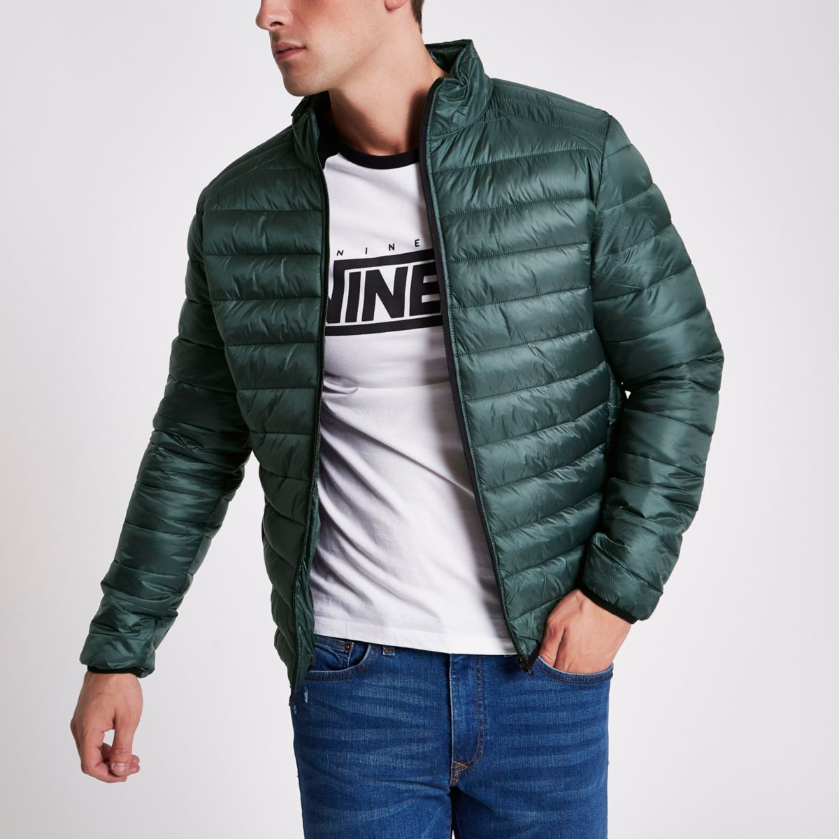 Green funnel neck puffer jacket