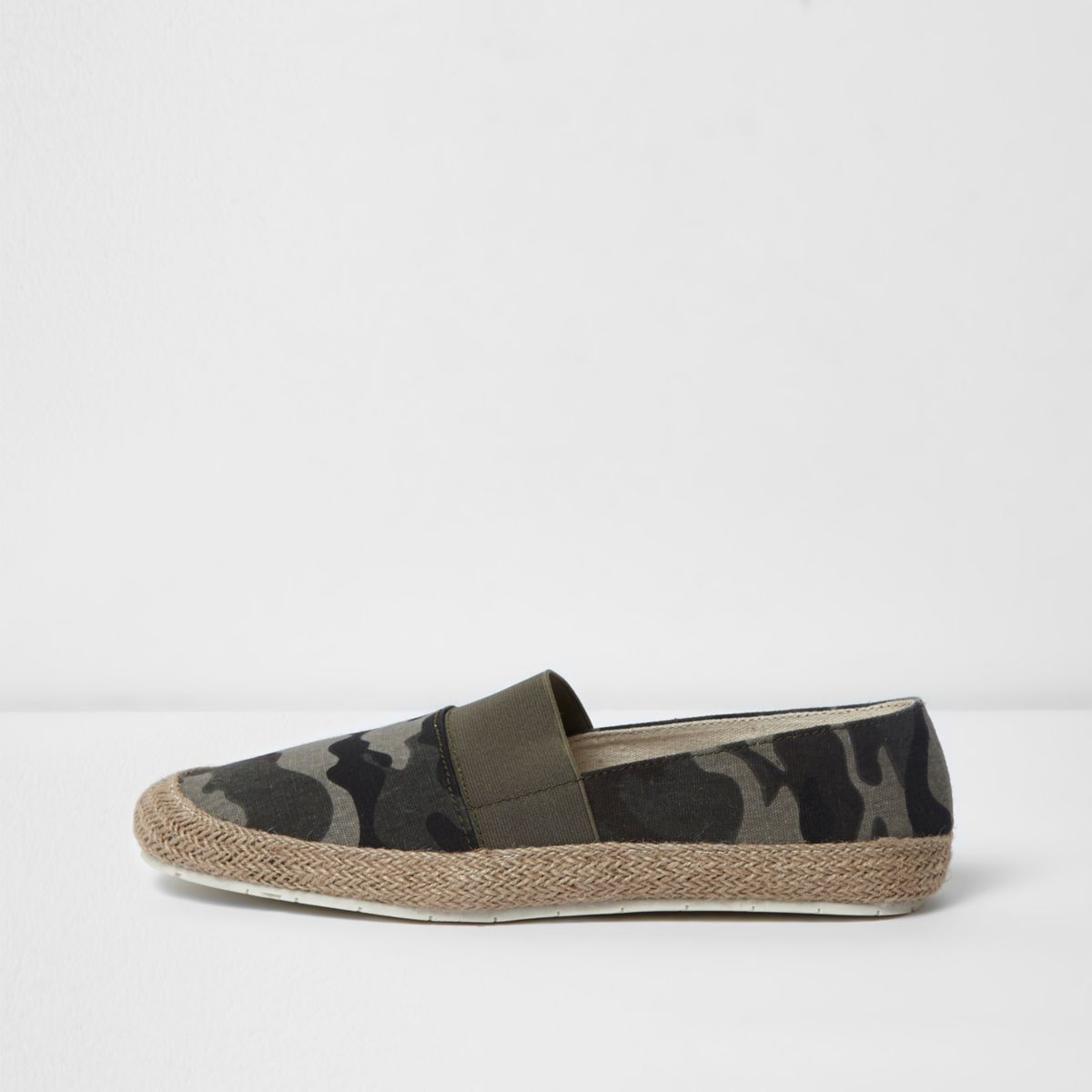 Khaki green canvas espadrilles
