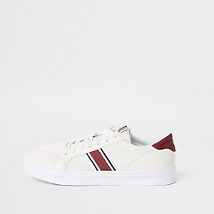 White mesh stripe side lace-up sneakers