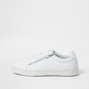 Witte sneakers met krokodillenprint en rits opzij