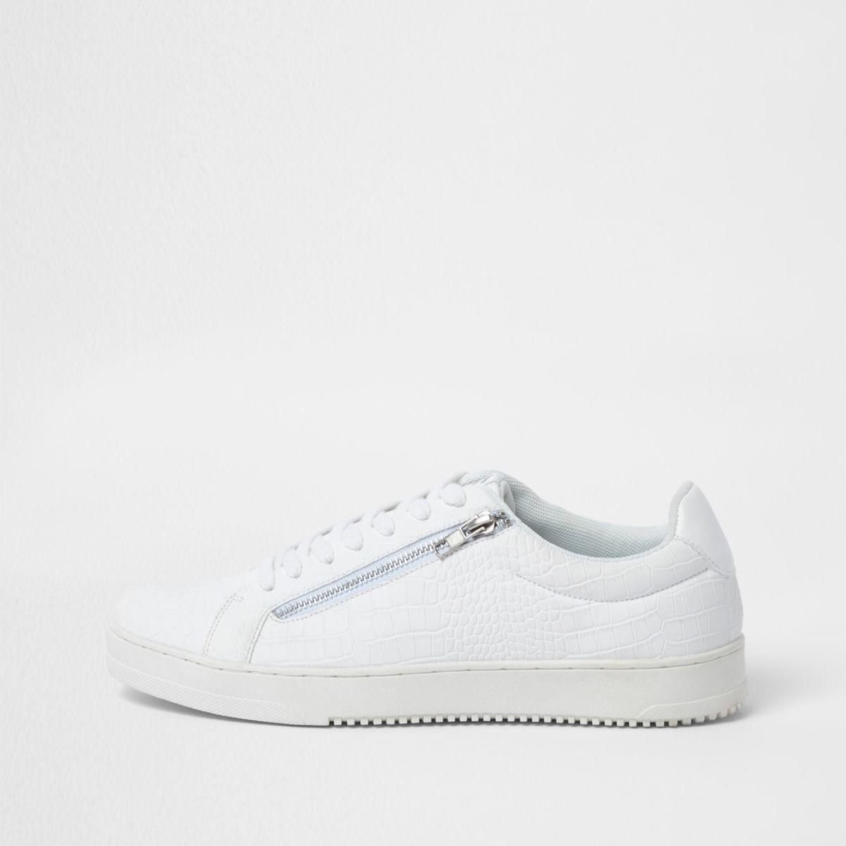 White croc embossed zip side sneakers