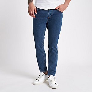 Jimmy - Middenblauwe smaltoelopende jeans