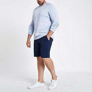 Big and Tall navy slim fit Oxford shorts