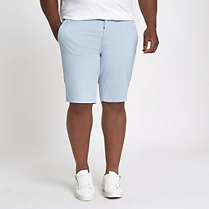 Big and Tall - Blauwe slim-fit oxford short