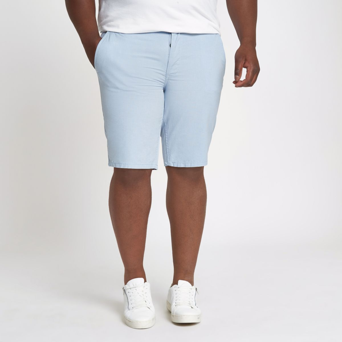 Blaue Slim Fit Oxford-Shorts
