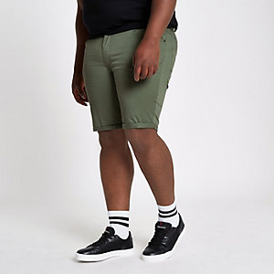 Big and Tall khaki skinny fit chino shorts
