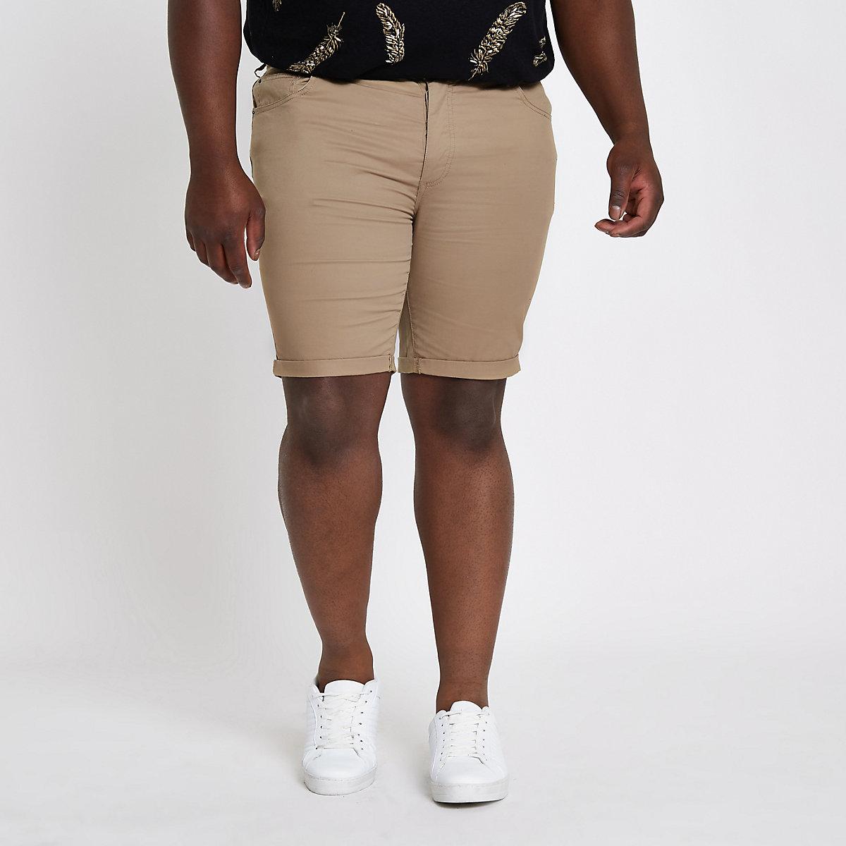 Big and Tall – Hellbraune Skinny Fit Chinoshorts